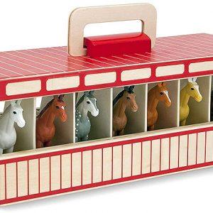 צעצוע סוסים של Melissa & Doug – אורווה עם 8 סוסים